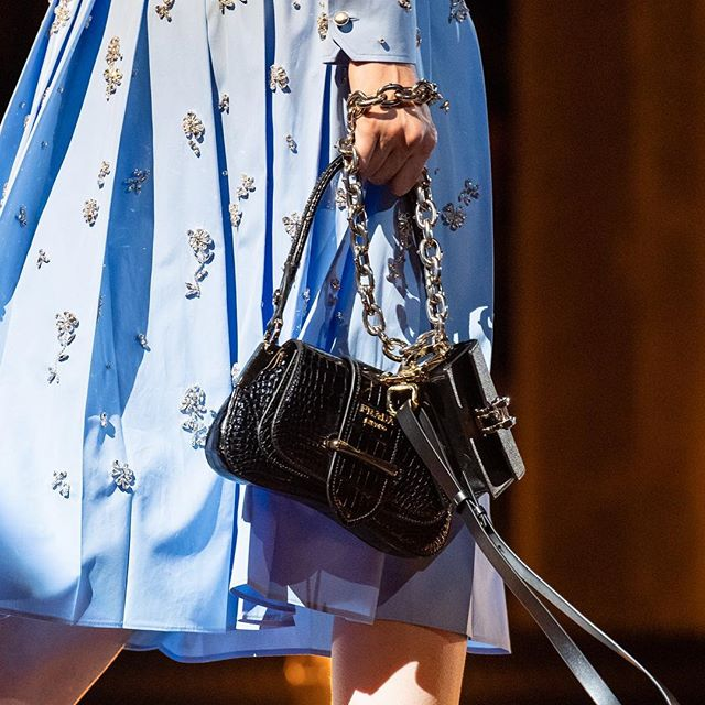 New Romantic icons: The little black bags. Discover the evolution of the #PradaSidonie, #PradaBelle, #PradaGalleria and #PradaDouble into petite versions, debuted at the #PradaFW19 Men s and Women s show, via link in bio.   #Prada   #MiucciaPrada