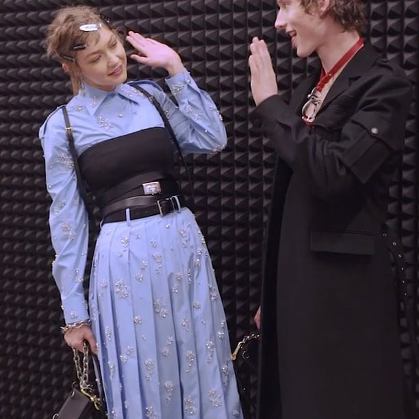 What do @gigihadid and @welllsfargo have in common? The #PradaFW19 Men s and Women s show was each model s first time ever on a #Prada runway. Watch their transformations for the epic event on #IGTV.   #Prada   #MiucciaPrada