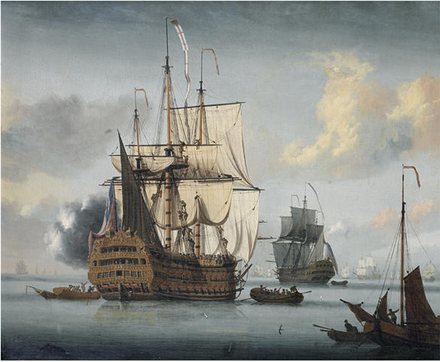 Л де Ман. The flagship Royal Sovereign saluting at the Nore, 1789