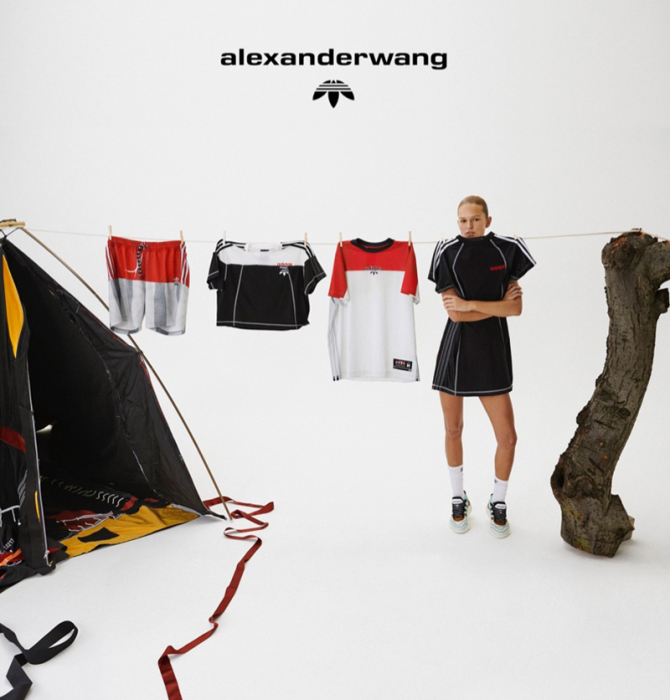 Анна Эверс села на пенек в кампейне 4-й коллекции adidas Originals by Alexander Wang